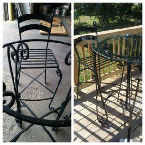 Refinished patio set, sandblasted and powder coated