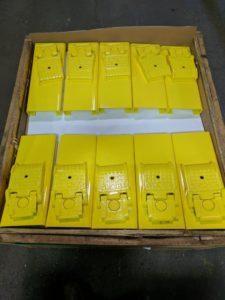 car jack plates, powder coated safety yellow